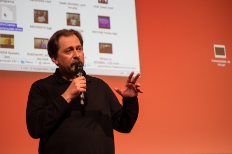 "Dmytri Kleiner at ""Telekommunist International: The Delegate Assembly"", transmediale 2017."