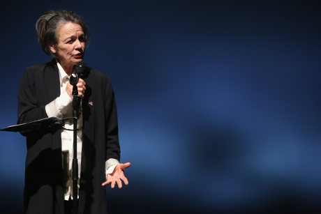 "Laurie Anderson performing ""The Language of the Future"" at transmediale 2017 ever elusive"