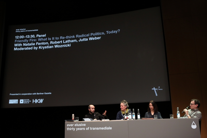 "Krystian Woznicki, Jutta Weber, Natalie Fenton and Robert Latham at ""Friendly Fire: What Is It to Re-think Radical Politics, Today?"""