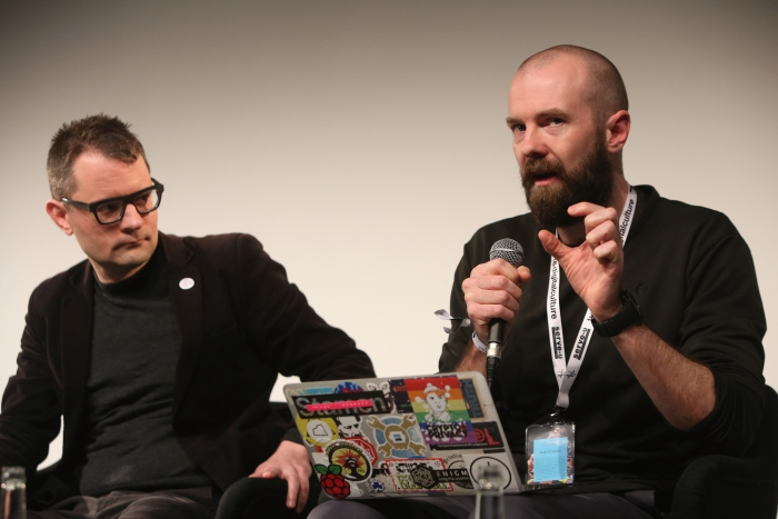 """Florian Cramer and Finn Brunton at """"Middle Session: The Middle to Come"""", transmediale 2017"""