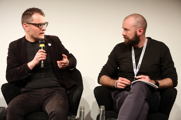 """Florian Cramer in conversation with Finn Brunton at """"Middle Session: The Middle to Come"""", transmediale 2017"""