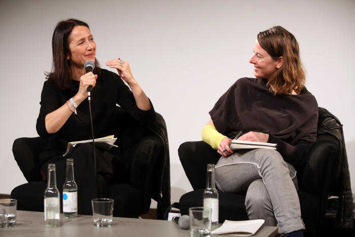 """Natalie Fento (left) in conversation with Patricia Reed (right) at """"Middle Session: The Middle to Come"""", transmediale 2017"""