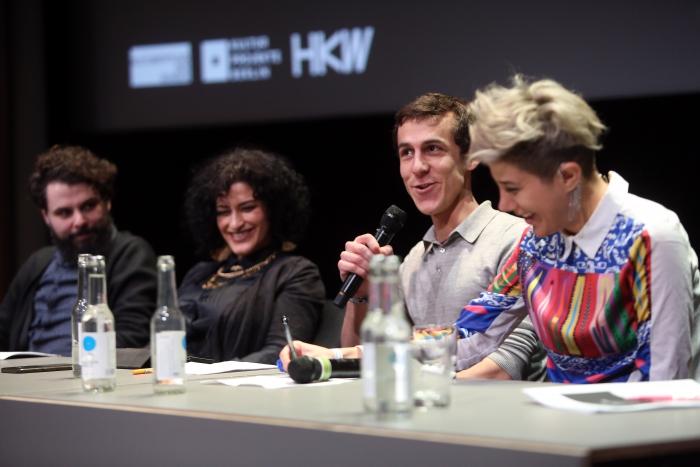 "Pedro Oliveira, Luiza Prado, Daniel Rourke and Morehshin Allahyari (left to right) at ""Singularities"", transmediale 2017"
