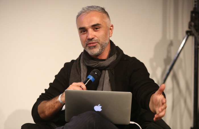 """Adrian Lahoud at the panel """"Mediterranean Tomorrows"""", transmediale 2017"""