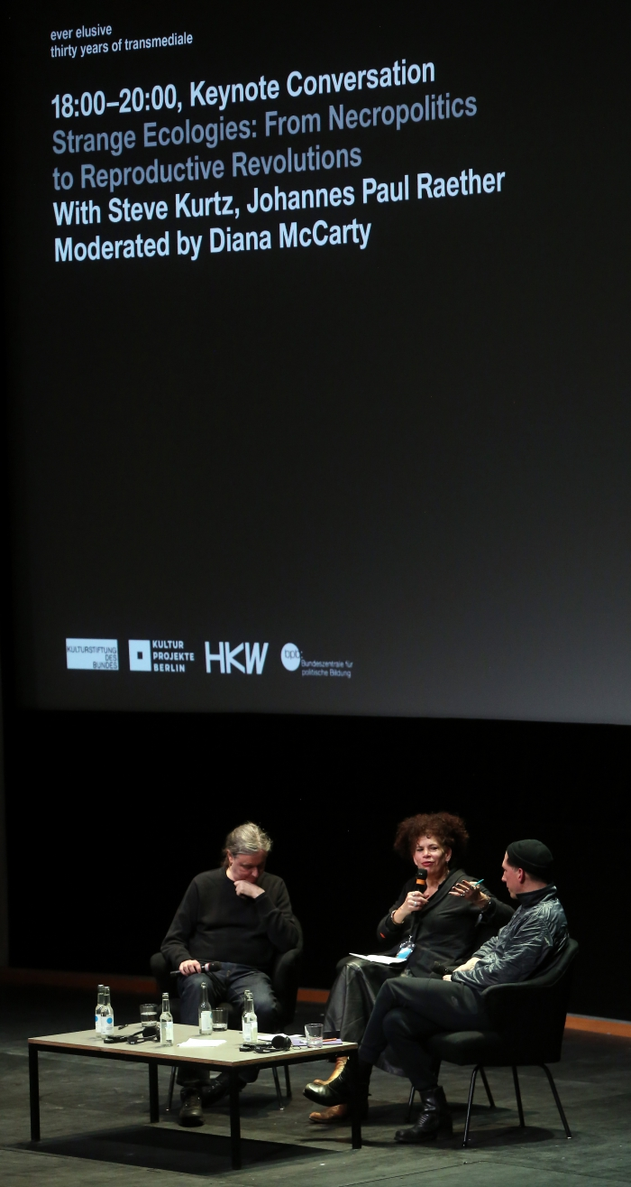 """Impression of the Keynote Conversation """"Strange Ecologies: From Necropolitics to Reproductive Revolutions"""""""