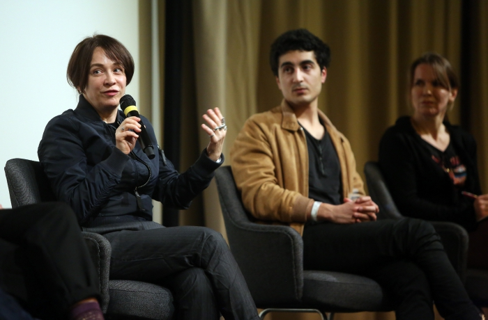 """Constanze Ruhm (left) and Emilien Awada (right) at """"PANORAMIS PARAMOUNT PARANORMAL"""", transmediale 2017."""
