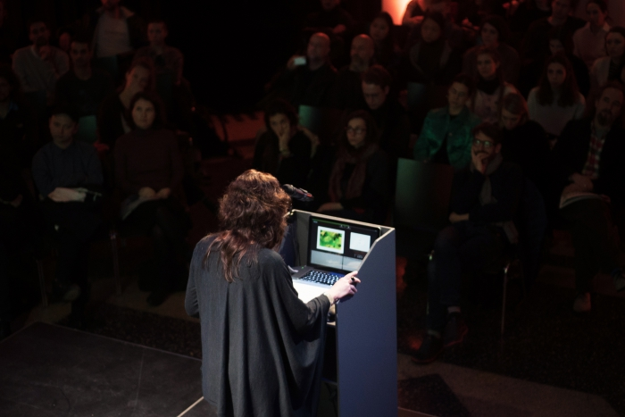 "Joanna Zylinska at the talk ""Nonhuman Photography: Dispatches from the End of the World"", transmediale 2017 ever eulsive."